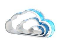 Cloud computing technology icon emblem. Cloud computing technology glossy icon emblem isolated on white Royalty Free Stock Photo
