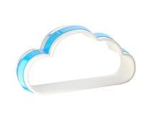 Cloud computing technology icon emblem. Cloud computing technology glossy icon emblem isolated on white Stock Photography