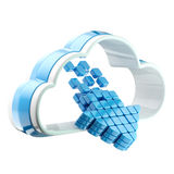 Cloud computing technology icon emblem. With symbolic glossy arrow inside isolated on white Royalty Free Stock Image