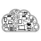 Cloud computing technology. Icon  illustration graphic design Stock Images