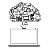 Cloud computing technology. Icon  illustration graphic design Royalty Free Stock Image