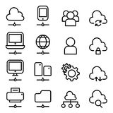 Cloud Computing Technology icon in thin line style Royalty Free Stock Image