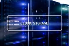 Cloud Computing Technology Internet Storage Network Concept on blurred supercomputer server room.  stock photo