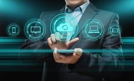 Cloud Computing Technology Internet Storage Network Concept. Businessman press button. Cloud Computing Technology Internet Storage Network Concept Stock Images
