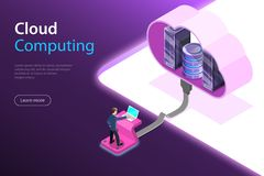 Cloud computing technology isometric flat vector concept. royalty free illustration