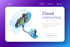 Cloud computing technology isometric flat vector concept. vector illustration
