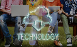 Cloud Computing Technology Networking Download Concept. People Cloud Computing Technology Networking Download Stock Photo