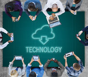 Cloud Computing Technology Networking Download Concept. People Cloud Computing Technology Networking Download Royalty Free Stock Photos