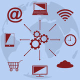 Cloud computing technology scheme with icons Stock Photo