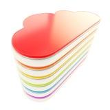 Cloud computing technology server database emblem. Cloud computing technology server database icon chrome and rainbow colored plastic emblem  on white Stock Image