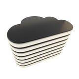 Cloud computing technology server database emblem. Cloud computing technology server database chrome metal and black plastic icon emblem isolated on white Stock Image