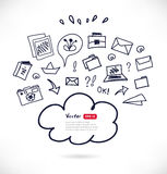 Cloud computing technology sketchy scheme.. Black contour illustration on white background. Vector design template with many elements Stock Images