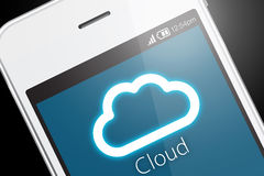 Cloud computing technology with smartphone on dark background. Royalty Free Stock Photo