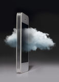 Cloud computing technology with smartphone isolated on dark back Royalty Free Stock Photos