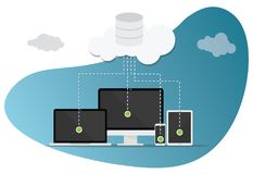 Cloud computing technology with various devices and modern style bubble royalty free illustration