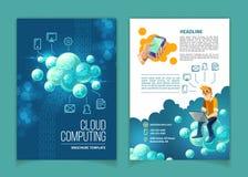 Cloud computing technology vector brochure. Cloud computing, global data storage, modern internet technologies vector concept illustration. Template for brochure vector illustration