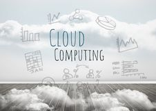 Cloud Computing text with drawings graphics Royalty Free Stock Photo
