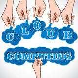 Cloud Computing text with hand Stock Photo