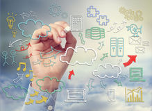 Cloud computing theme with icons hand drawn with chalk Royalty Free Stock Photo