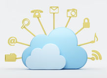 Cloud computing tools. 3d render of cloud computing tools with blue clouds Royalty Free Stock Image