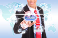 Cloud computing touchscreen interface stock images