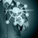 Cloud computing touchscreen interface. This image has attached release Royalty Free Stock Images