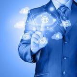 Cloud computing touchscreen interface Royalty Free Stock Photos