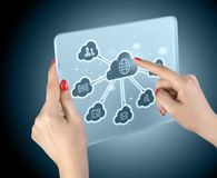Cloud computing touchscreen interface Stock Photo