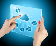 Cloud computing touchscreen interface Royalty Free Stock Images
