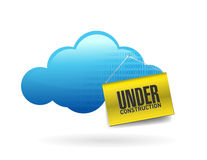 Cloud computing with under construction sign Royalty Free Stock Image
