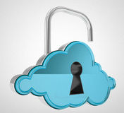 Cloud computing unlock concept Royalty Free Stock Photography