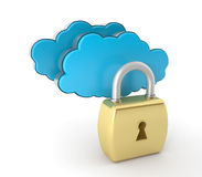 Cloud computing. Unlock concept. This is a 3D rendered picture Royalty Free Stock Image