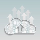 Cloud Computing-Upload cloud social network. Royalty Free Stock Photography