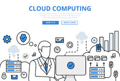 Cloud computing upload concept flat line art vector icons Royalty Free Stock Images