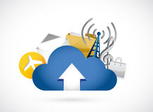 Cloud computing upload concept illustration Royalty Free Stock Photo