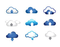 Cloud computing upload and download concept Stock Photo