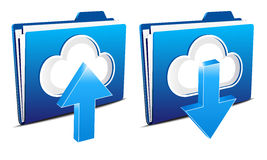 Cloud computing upload and download icons. 3D Upload and download icons, files to folder and from the virtual cloud Royalty Free Stock Images