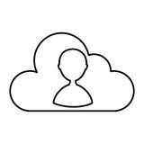 Cloud computing with user silhouette. Vector illustration design Royalty Free Stock Photos
