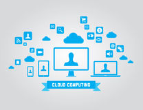 Cloud computing vector elements. Vector illustration of cloud computing technology concept with abstract icons and design elements. on gray background