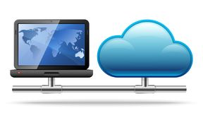 Laptor connected to a cloud. Concept of cloud computing royalty free stock photography