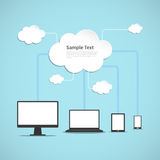 Cloud Computing. A vector illustration of the concept of cloud computing cloud computing technology Royalty Free Stock Photography
