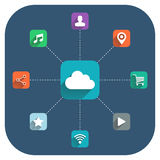 Cloud computing vector illustration with icons set. Royalty Free Stock Images