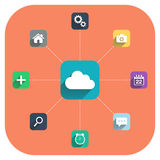 Cloud computing vector illustration with icons set. Royalty Free Stock Photography