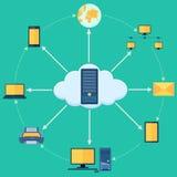 Cloud Computing. Vector illustration of pictogram of cloud computing Stock Photo