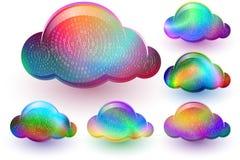 Cloud Computing Virtual Storage Binary Code Data Multicolor Icon Set Royalty Free Stock Photos