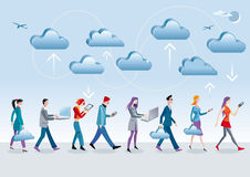 Cloud Computing Walking. Eight different characters, men and women, access the data in the Internet cloud with different mobile devices (mobile, laptop, tablet) Stock Images