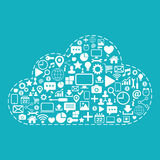 Cloud computing. Web icons set on blue background vector illustration. Royalty Free Stock Photo