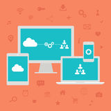 Cloud computing. Web icons set. Vector illustration. Cloud computing. Web icons set. Vector illustration on red background Royalty Free Stock Photography