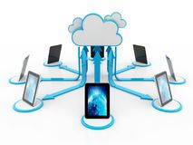 Cloud computing concept, Cloud Network. 3d rendering royalty free stock photos