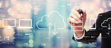 Free Cloud Computing With Businessman Stock Images - 187903544